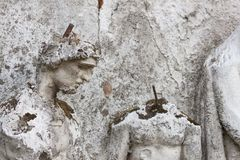 Detail of the face smashed historic statues. Torso of ancient statues. Lost sculpture. Royalty Free Stock Photography