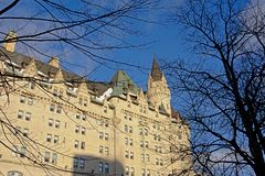 Detail of Fairmont Château Laurier castle on a winter day with snow in Ottawa, capital of Canada. Architecture detail of Fairmont Château Laurier castle on royalty free stock photography