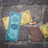 Detail of fake dollars used for a flash mob in Milan, Italy Royalty Free Stock Photo