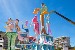 Detail of Fallas construction with crane in Campanar Valencia Stock Photo