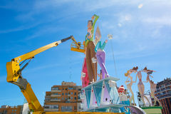 Detail of Fallas construction with crane in Campanar Valencia Stock Images
