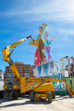 Detail of Fallas construction with crane in Campanar Valencia Royalty Free Stock Photos