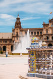Detail of famous landmark - Plaza de Espana in Seville, Andalusi Royalty Free Stock Images