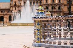 Detail of famous landmark - Plaza de Espana in Seville, Andalusi Royalty Free Stock Image