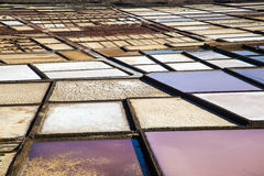 Detail of famous Salinas de Janubio on Lanzarote island, Canary islands, Spain Stock Images