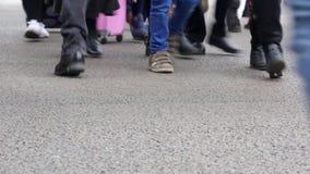 Detail of feet crossing a crosswalk.02-01 stock video