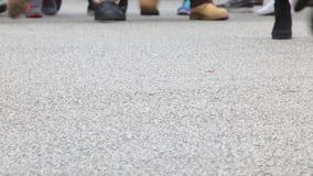 Detail of feet crossing a crosswalk.Time Lapse.02-05 stock video footage