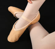Detail of the feet of a dancer with demi-pointe royalty free stock photo
