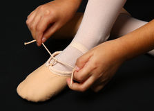 Detail of the feet of a dancer with demi-pointe Royalty Free Stock Photos