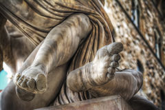Detail of feet of Ratto di Polissena statue Stock Photography