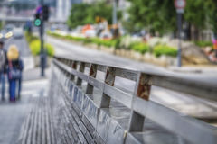 Detail of fence in big city Royalty Free Stock Photography