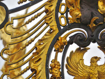 Detail of the fence, Buckingham palace, England. Golden detail of the fence of  Buckingham palace, England Royalty Free Stock Photography