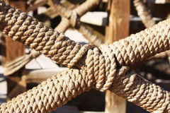 Detail of the fence decorated with rope, the Rope in the design of the railing Stock Photos