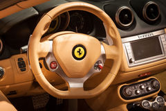 Detail of Ferrari cockpit at Mido 2014 in Milan, Italy Stock Images