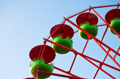 Detail of a Ferris Wheel. Detail of a  green and red colored Ferris Wheel Royalty Free Stock Images