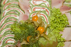 Detail of a festive buffet Stock Photos