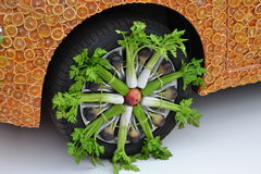 A detail of a Fiat 500 wheel rim decoration exposed at the EXPO Milano 2015. Stock Photos