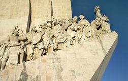 Detail on figures on side of Monument of Discoveries stock image