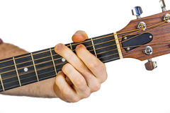 Detail of fingers and hand of guitar player Royalty Free Stock Photography