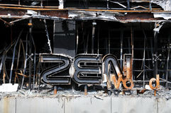 Detail of Fire Gutted Shopping Mall in Bangkok Stock Photo