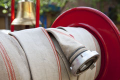 Detail of fire hose Stock Photo