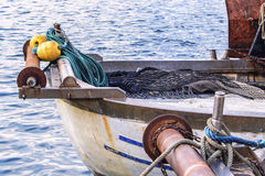 Detail from fishing boat. Interesting view of the fishing boat. In this photo we see the winch, after which pulled out a fishing net. Hard work every day Royalty Free Stock Photos