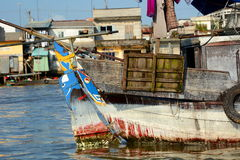 Detail. Fishing boat. Mekong delta floating market. Cai Be. Vietnam Royalty Free Stock Photo