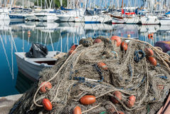 Detail of a fishing net Stock Photos