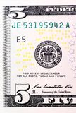 Detail of five U.S. dollar bill on macro. Royalty Free Stock Photography