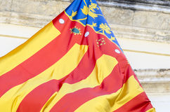 Detail of flag of Comunidad Valenciana, Spain. Royalty Free Stock Image