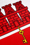Detail on the flag of Gibraltar Stock Images