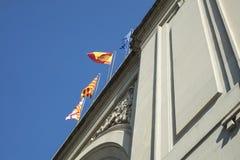 Detail of flags waving on top of France Station Estacion de Fra. Ncia in Barcelona stock images