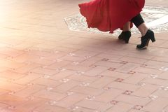 Detail of a flamenco dancer`s feet performing in a street of a Spanish city. Royalty Free Stock Photo