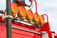 Detail of Flashing Red Siren Light on Roof. Of Emergency Vehicle Stock Photo