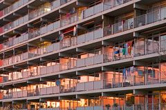 Detail of flats in sunset glow Royalty Free Stock Images