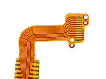Detail of flexed printed circuit Royalty Free Stock Photos