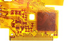Detail of flexed printed circuit Royalty Free Stock Images