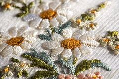 Detail of floral embroidery on a textile Royalty Free Stock Photos