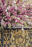 Detail of floral ornamentation on a throne of Holy week, Linares. Andalusia, Spain Stock Photography