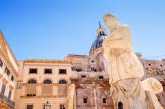 Detail of Florentine fountain on Piazza Pretoria in Palermo Royalty Free Stock Photos
