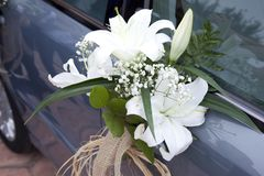 Detail of the Flowers that adorn the bridal car. royalty free stock photos