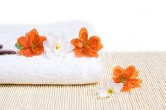 detail flowers spa πετσέτα Στοκ φωτογραφία με δικαίωμα ελεύθερης χρήσης
