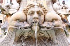 Detail of Fontana del Pantheon in Rome stock image