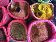 Detail of food in a street market. Detail of food, spices, curry, paprika at a street market in Burma royalty free stock photos