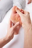 Detail foot reflexology massage. By masseuse Stock Image