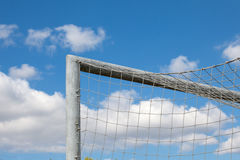 Detail of football goal ?ad a beautiful blue sky Stock Image