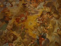 Frescoes at the church ceiling stock photo