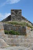 Detail of Fort du Cabellou, Southern Brittany. Study of wall and chimney of  Fort du Cabellou, Southern Brittany Coastline, France Stock Image