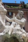 Detail of Fountain of the Four Rivers in Navona Stock Photo
