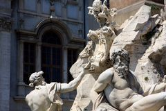 Piazza Navona in Rome, Italy. Detail of the Fountain of the four Rivers in Piazza Navona, Rome, Italy royalty free stock image